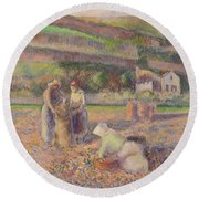 The Potato Harvest Round Beach Towel