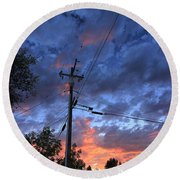 Round Beach Towel featuring the photograph The Power Of Sunset by Sean Sarsfield