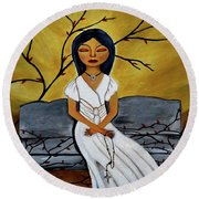 The Power Of The Rosary Religious Art By Saribelle Round Beach Towel