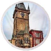 The Prague Clock Tower Round Beach Towel