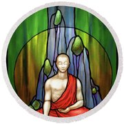 The Praying Monk Round Beach Towel