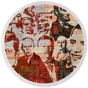 The Presidents Past Recycled Vintage License Plate Art Collage Round Beach Towel by Design Turnpike