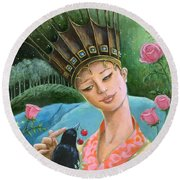 The Princess And The Crow Round Beach Towel
