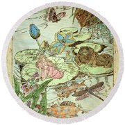 The Princess And The Frogs Round Beach Towel