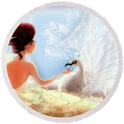 The Princess And The Peacock Round Beach Towel