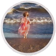 The Princess And The Sea Round Beach Towel