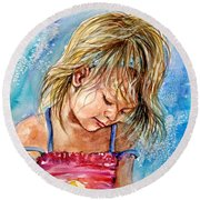 The Princess Of The Sand Castle Round Beach Towel