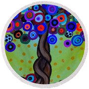 Round Beach Towel featuring the painting The Prolific Tree by Pristine Cartera Turkus