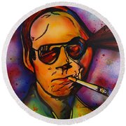 The Psycho-delic Suicide Of The Tambourine Man Round Beach Towel