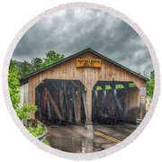 Round Beach Towel featuring the photograph The Pulp Mill Bridge by Guy Whiteley