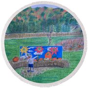 The Pumpkin Patch  Round Beach Towel