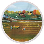 Round Beach Towel featuring the painting The Pumpkin Patch by Virginia Coyle