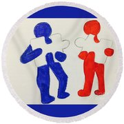 The Puzzles People  Round Beach Towel