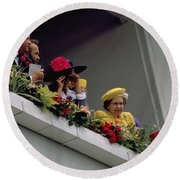 The Queen At Derby Day 1988 Round Beach Towel