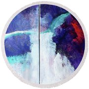 Round Beach Towel featuring the painting The Questioning Mind by Lisa Kaiser