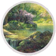 The Quiet Creek Round Beach Towel