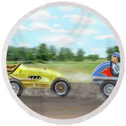Round Beach Towel featuring the digital art The Racers by Gary Giacomelli