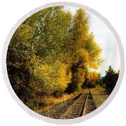 Round Beach Towel featuring the photograph The Rail To Home by Jennifer Lake