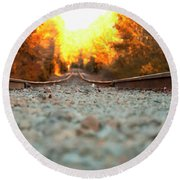 Round Beach Towel featuring the digital art The Railroad Tracks From A New Perspective by Chris Flees