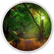 The Ramble In Central Park Round Beach Towel by Mark Andrew Thomas