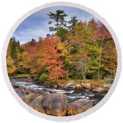 Round Beach Towel featuring the photograph The Rapids On The Moose River by David Patterson