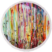 The Raspberry Patch Large Painting Round Beach Towel
