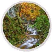 Cascades And Waterfalls Round Beach Towel