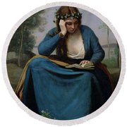 The Reader Crowned With Flowers Round Beach Towel by Jean Baptiste Camille Corot
