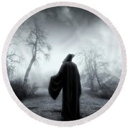 The Reaper Moving Through Mist And Fog Round Beach Towel by Christian Lagereek