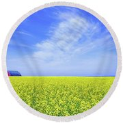Round Beach Towel featuring the photograph The Red Barn by Keith Armstrong