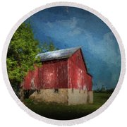 Round Beach Towel featuring the photograph The Red Barn by Marvin Spates