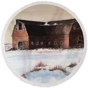 The Red Barn Round Beach Towel