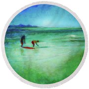 The Red Boogey Board Round Beach Towel