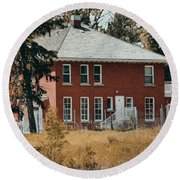 The Red Brick House Round Beach Towel by Maria Angelica Maira
