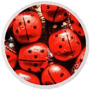 The Red Bug Out  Round Beach Towel