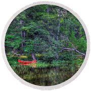 The Red Canoe Round Beach Towel