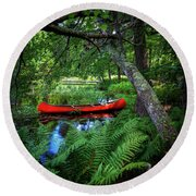 The Red Canoe On The Lake Round Beach Towel