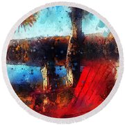 Round Beach Towel featuring the photograph The Red Chair by Claire Bull