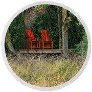 Round Beach Towel featuring the photograph The Red Chairs by Deborah Benoit