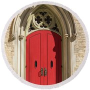 The Red Church Door. Round Beach Towel