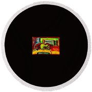 The Red Couch Round Beach Towel