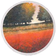The Red Field #2 Round Beach Towel