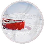 The Red Fishing Boat Round Beach Towel