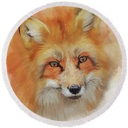 The Red Fox Round Beach Towel