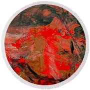 Round Beach Towel featuring the painting The Red Garden by Nancy Kane Chapman