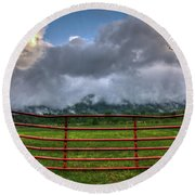 Round Beach Towel featuring the photograph The Red Gate by Douglas Stucky