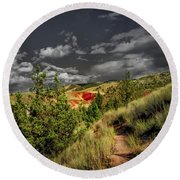 The Red Hill Round Beach Towel