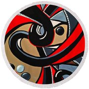 Red And Black Abstract Art Painting Round Beach Towel