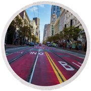 Round Beach Towel featuring the photograph The Red Path by Darcy Michaelchuk