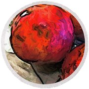 The Red Pomegranates On The Marble Chopping Board Round Beach Towel